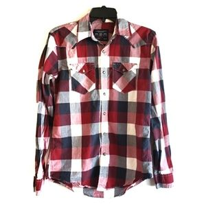 American Eagle Plaid Snap Button Shirt